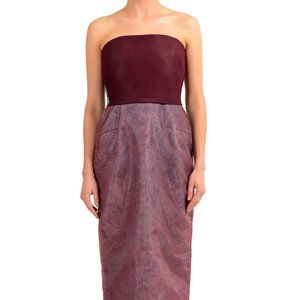 Maison Margiela Burgundy Painted Corset Maxi Dress